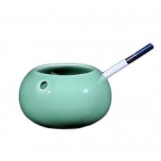 Long Quan China Glaze Ceramic Ashtray, Plum Green