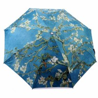 Original Van Gogh Almond Blossoms Oil Painting Folding Travel Compact Umbrella