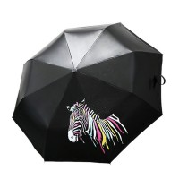 Discoloring Zebra Folding Umbrella, Color Changing Compact Umbrella