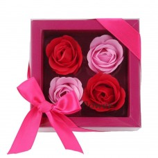 Bath Soap Rose Flower, Scented Soap Rose Petals in Gift Box, 4 Pcs (Red)