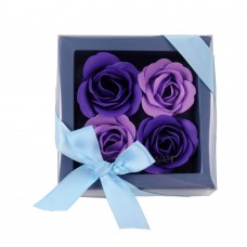 Bath Soap Rose Flower, Scented Soap Rose Petals in Gift Box, 4 Pcs (Purple)