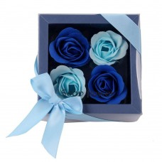 Bath Soap Rose Flower, Scented Soap Rose Petals in Gift Box, 4 Pcs (Blue)