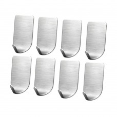 Adhesive Wall Hooks, Stainless Steel Bathroom Hooks, Metal Wall Hooks for Hanging (8 Pcs Narrow Single-Hook)