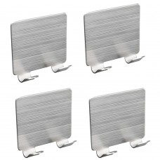 Adhesive Wall Hooks, Stainless Steel Bathroom Hooks, Metal Wall Hooks for Hanging (4 Pcs Wide Double-Hook)