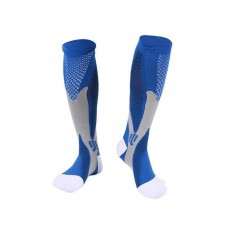 Sports Compression Socks (20-30mmHg), Sport Knee High Socks, Best Design for Running, Traveling, Boost Stamina and Recovery (Blue)