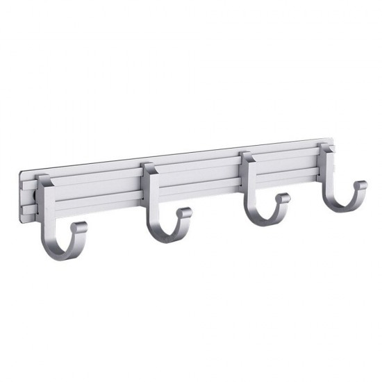 Bathroom Wall Mount Aluminum Coat Hook Rail Rack with 4 Flared Adjustable  Tri-Hooks.