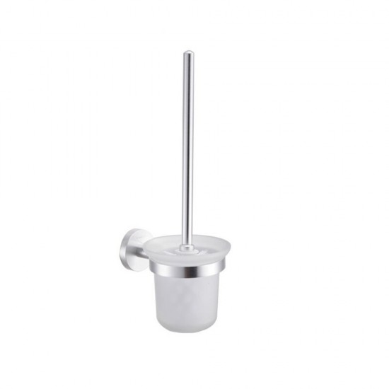 Mylifeunit Aluminum Wall Mounted Toilet Bowl Brush Holder Set