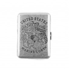 Copper Cigarette Case, United States Marine Corps Retro Design Metal Cigarette Case, Holds 16 Cigarettes
