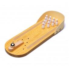 Mini Desktop Bowling Game Set, Wooden Miniature Ten Pin Bowling Alley