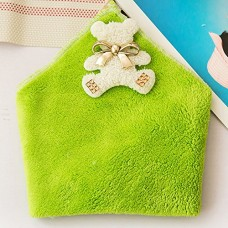 Cute Coral Velvet Hanging Kitchen Towel, 5 Colors (Green)