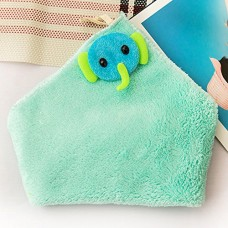 Cute Coral Velvet Hanging Kitchen Towel, 5 Colors (Blue)