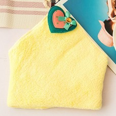 Cute Coral Velvet Hanging Kitchen Towel, 5 Colors (Yellow)