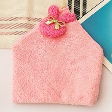 Cute Coral Velvet Hanging Kitchen Towel, 5 Colors (Pink)
