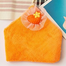 Cute Coral Velvet Hanging Kitchen Towel, 5 Colors (Orange)
