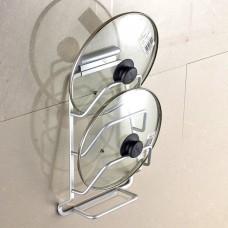 Wall Mount Pot Lid Organizer Rack, 3-Tier Aluminum Pot Lid Holder with Acrylic Drain Pan