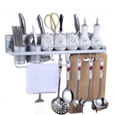 Wall Mount Knife Spice Kitchen Utensil Hanging Rack Organizer, Aluminum Kitchen Wall Shelf with 2 Cups