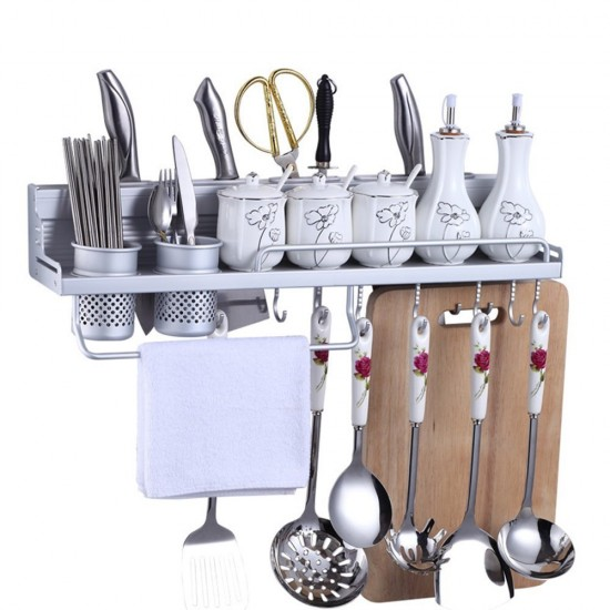 Wall Mount Knife Spice Kitchen Utensil Hanging Rack Organizer, Aluminum Kitchen  Wall Shelf With 2 Cups. U2039 U203a