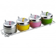 304 Stainless Steel Seasoning Container Set of 4 with Rack Spoon and Lid
