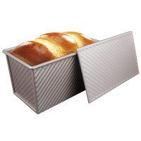 Nonstick Loaf Pan, Aluminized Steel Bread Toast Mold with Cover, Gold