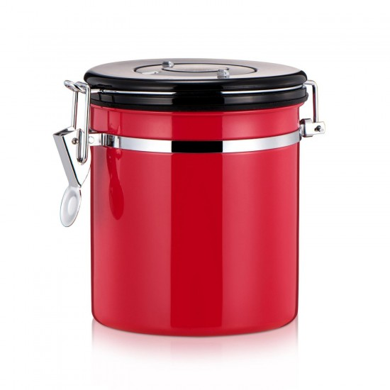 Coffee Canister Stainless Steel Bean Container Storage 4 Colors Red
