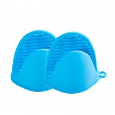 Silicone Pot Holder, Silicone Oven Mitt Mini Set of 2, Heat Resistant Cooking Pinch Grabber Grips (Blue)