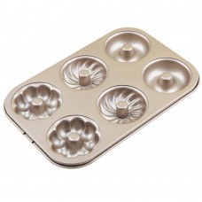 6 Cavity Multi-Shaped Donut Pan, Non Stick Cabon Steel Donut Maker, Full Size