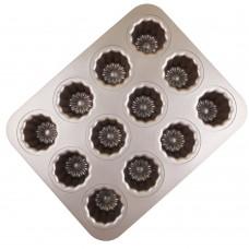 Carbon Steel Cannele Pan, 12-Cavity Non Stick Cannele Mold, Golden