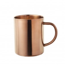 Double Wall Stainless Steel Copper Plated Coffee Mug, 15 Oz Insulated Beer Bug with Copper Finish (Champagne)