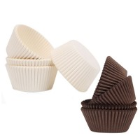 Paper Muffin Liners, Standard Size Cupcake Liner Muffin Baking Cups (200, Brown & White)
