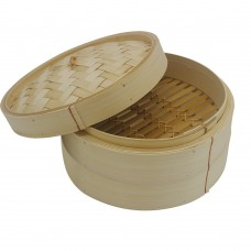 10 Inch Bamboo Steamer, 2 Tier Bamboo Steaming Basket with FREE 50 Counts Bamboo Steamer Liners, for Cooking Vegetables, Rice, Fish, Dim Sum