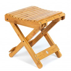 Bamboo Folding Stool, 11.8-inch Height, Weight Capacity 440 LBS