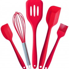 Silicone Kitchen Utensils Set - Turner, Large Spatula, Small Spatula, Basting Brush, Whisk