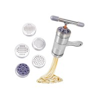 Stainless Steel Manual Pasta Machine Noodle Maker, 5 Noodle Mould
