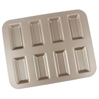 Nonstick Financier Mold Pan, Carbon Steel Mini Loaf Pan with 8-Cavity