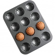 Madeleine Cookie Mold, Carbon Steel Shell Baking Pan with 12-Cavity