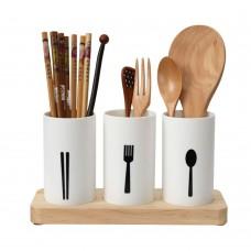 Kitchen Utensil Caddy, Flatware Organizer with Wood Base