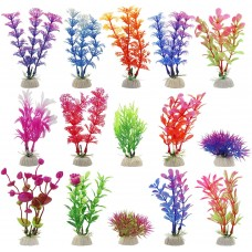 Fish Tank Plants, Artificial Aquariums Plants Plastic for Fish Tank Decorations, Pack of 15
