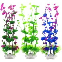 Fish Tank Decorations, Plastic Artificial Aquatic Plants for Aquarium Decorations, 9.5 Inches (Pack of 3)