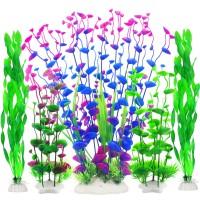 Fish Tank Decor, Artificial Aquarium Decorations Large Plants for Tank (Pack of 5)