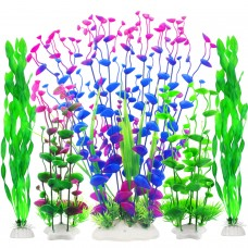 Fish Tank Decor, Artificial Aquarium Decorations Large Plants for Tank (Pack of 5)