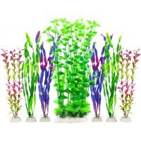 Fish Tank Plants, Artificial Aquarium Decorations Large Plastic Plants (Pack of 7)