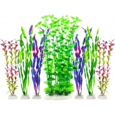 Fish Tank Plants, Artificial Aquarium Decorations Large Plastic Plants (Pack of 7)
