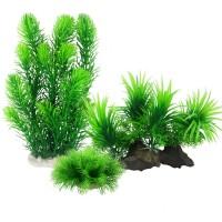 Artificial Aquarium Plants, Plastic Fish Tank Decor Plants for Aquarium Decorations (Pack of 3)