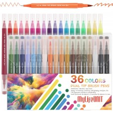 MyLifeUNIT Dual Tip Brush Pens, 36 Colors Fineliner Pens Set for Calligraphy, Drawing and Writing