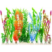 Artificial Fish Tank Plants, Plastic Aquariums Plants Decorations, Set of 10