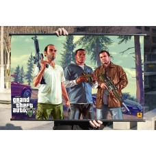 "GTA V Fabric Wall Scroll Poster, Grand Theft Auto V Poster Fabric Print 32"" x 20"" (80cm x 50cm) (Lamar Down)"