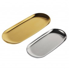 Stainless Steel Vanity Trays, Cosmetic Organizer Trays for Makeup, Beauty Products, Jewelry, Hand Towels (Gold & Silver)