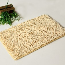 Chenille Bath Rugs Non Slip Absorbent Bath Mats, 23 x 16 Inch (Beige)