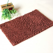 Chenille Bath Rugs Non Slip Absorbent Bath Mats, 23 x 16 Inch (Brown)