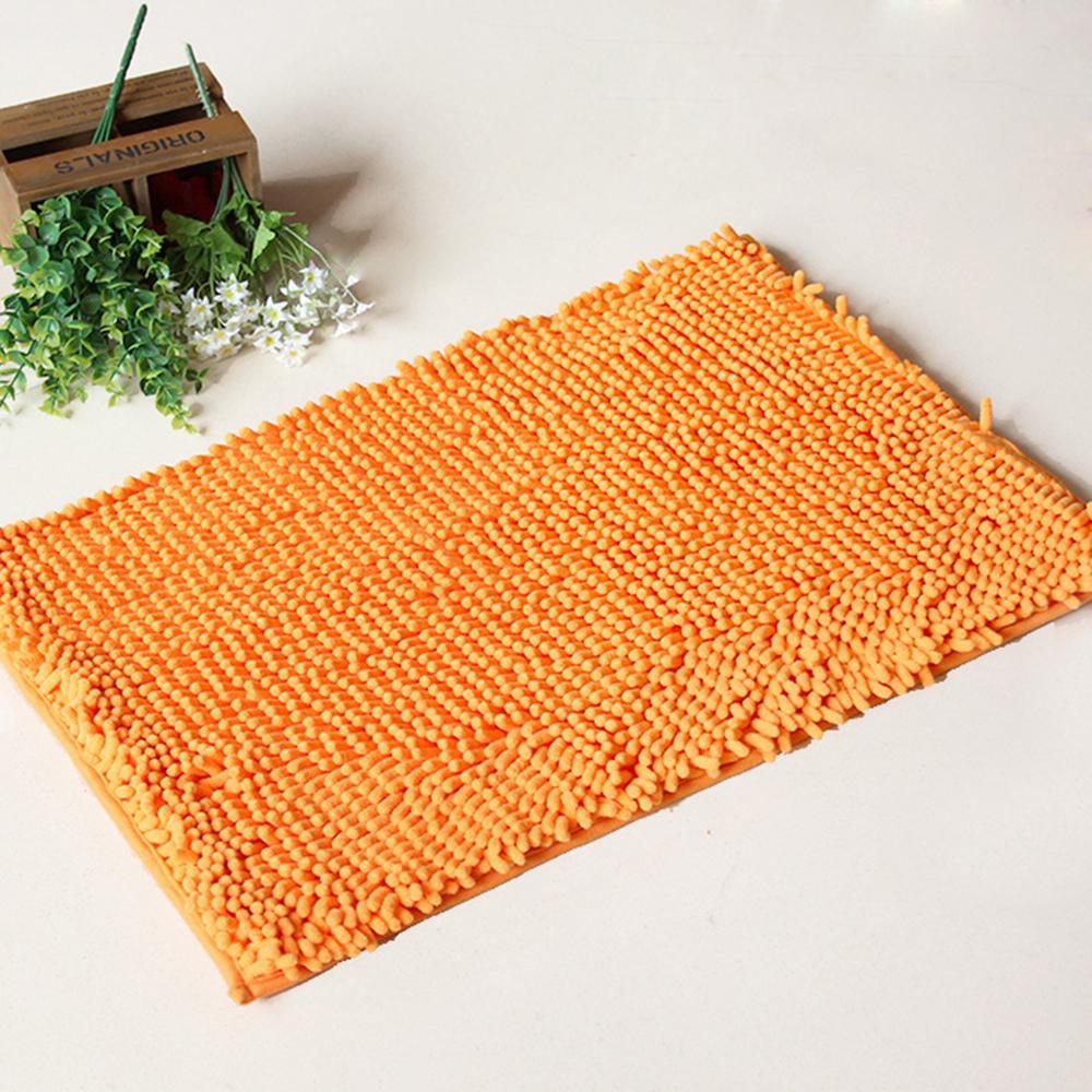 Chenille bath rugs non slip absorbent bath mats 23 16 orange - Orange kitchen floor mats ...